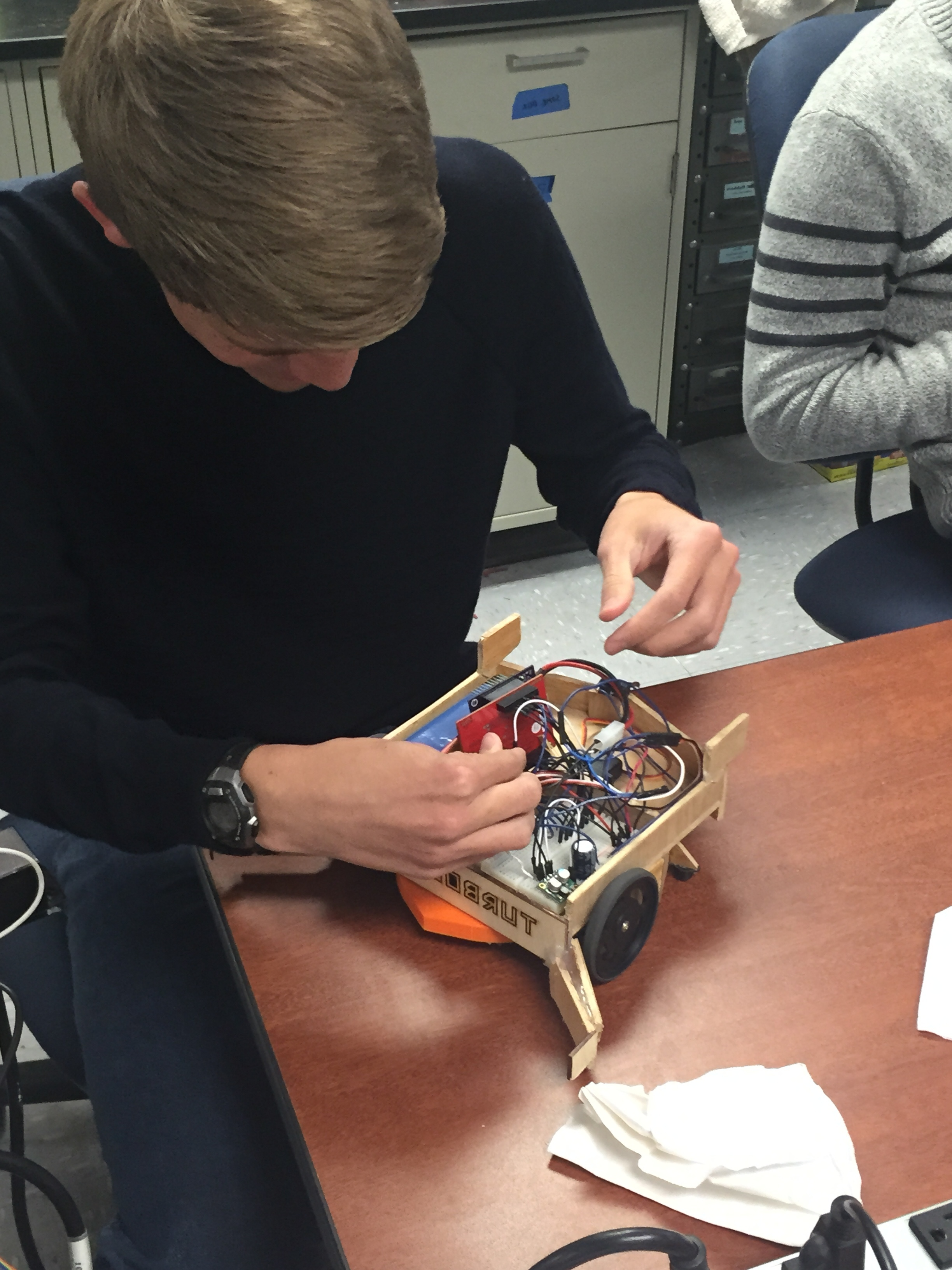 Turbolifts member Mark working on Robot
