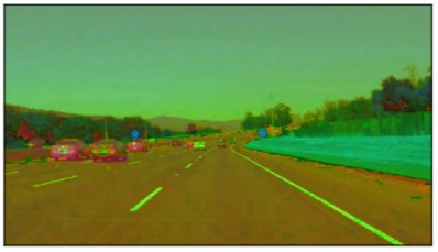 Car lanes in HSL color space